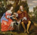 Jan van Meytens - Portrait of a Gentleman and his Wife Holding an Arrow, Seated with their Dog