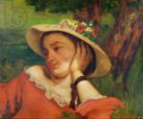 Gustave Courbet - Woman in a Straw Hat with Flowers, c.1857