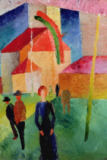 August Macke - Church Decorated with Flags