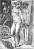Michelangelo Buonarroti - Nude looking at Herself in a Mirror, print made by Monogrammist 'M', c.1530-80