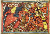 Unbekannt - Fr 22495 f.43 Battle between Crusaders and Moslems, 14th century
