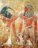 Egyptian 19th Dynasty - The god Thoth with Seti I (1394-1279 BC) in the Tomb of Seti I, New Kingdom
