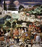 The Journey of the Magi to Bethlehem, the left hand wall of the chapel, c.1460 von Benozzo di Lese di Sandro Gozzoli