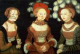 Three princesses of Saxony, Sibylla (1515-92), Emilia (1516-91) and Sidonia (1518-75), daughters of Duke Heinrich of Frommen, c. of Lucas Cranach der Ältere