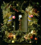 Jan Davidsz. de Heem - Communion cup and host, encircled with a garland of fruit