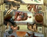 Michelangelo Buonarroti - Sistine Chapel Ceiling: God Separating the Land from the Sea, with four Ignudi, 1510