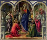 Fra Filippo Lippi - The Barbadori Altarpiece: Virgin and Child surrounded by Angels with St. Frediano and St. Augustine, 1437