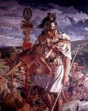 William Bell Scott - Roman centurion during the building of Hadrian's Wall, detail of mural depicting the History of Northumbria, c.1861