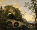Salvator Rosa - Landscape with a dilapidated bridge