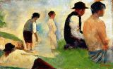 Georges Pierre Seurat - Five male figures, possible preparatory sketch for the 'Bathers at Asnieres', 1883