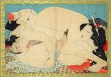 Katsushika Hokusai - A couple engaged in a sexual act, c.1880's/90's