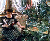 Lovis Corinth - A Woman Reading near a Goldfish Tank
