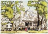 John Frederick Lewis - Yeni Jami, Constantinople, plate 8 from 'Illustrations of Constantinople', engraved by the artist, pub. 1838