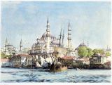 John Frederick Lewis - Yeni Jami and St. Sophia from the Golden Horn, plate 9 from 'Illustrations of Constantinople', engraved by the artist, pub. 1838