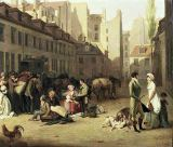 Louis-Léopold Boilly - Detail of The Arrival of a Stage Coach at the Terminus, detail of some passengers, 1804