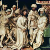 Hans Holbein der Ältere - Pilate Washing his Hands, left panel from a triptych, 1496