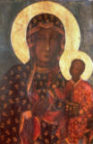 Russian School - The Black Madonna of Jasna Gora, Byzantine-Russian icon, 14th century