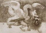 Leonardo da Vinci - Fight between a Dragon and a Lion
