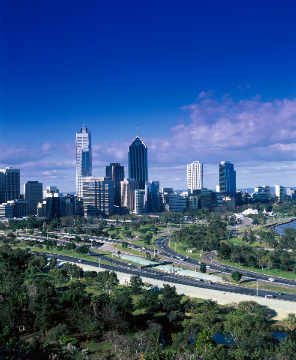 Australien, Perth, Stadtüberblick of artist Horizon (F1 Online), Down, Towns, Trees, Burgs, Large, Under, Kings, Perth