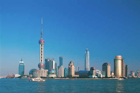 Shanghai of artist Oriental Touch (F1 Online), Blue, Asia, East, Level, River, Tower, China, Height