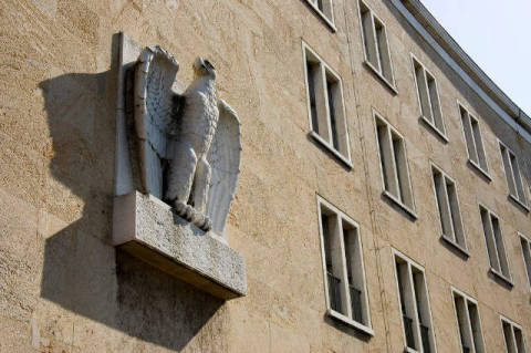 Nazi eagle figur, at the main building of airport Tempelhof, Berlin, Germany of artist Norbert Michalke (F1 Online) as framed image