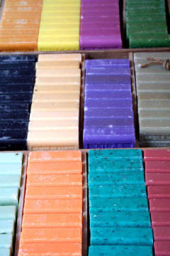 Colourful lavender soap, Vaucluse, France, close-up of artist JB-Fotografie (F1 Online), Cut, One, Form, Trim, Wood, Soap, High, Life