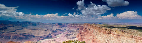 View from the South Rim of the Grand Canyon, Arizona, USA, aerial view, panorama format of artist Andreas Geh (F1 Online) as framed image