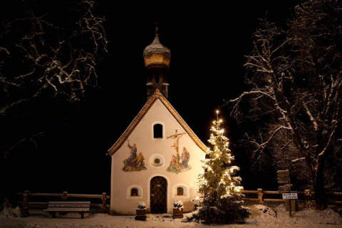 Chapel at night, Klais, Germany of artist Beate Münter (F1 Online) as framed image