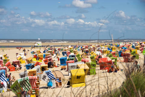 Beach chairs on the beach, Langeoog, Germany of artist Norbert Hohn  (F1 Online) as framed image