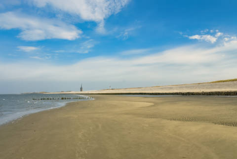 Empty beach on Wangerooge, Germany of artist Norbert Hohn  (F1 Online) as framed image