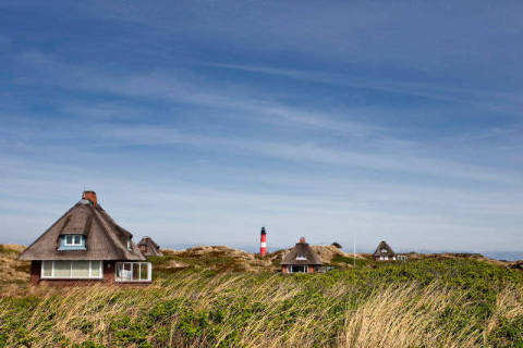 Holiday homes in dunes, Hoernum, Sylt, Germany of artist Beate Zoellner (F1 Online) as framed image