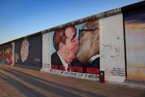 Painted Berlin Wall, East Side Gallery, Berlin, Germany of artist Beate Münter (F1 Online), Art, East, Story, Skill, Shade, Howdy, Mural, Still