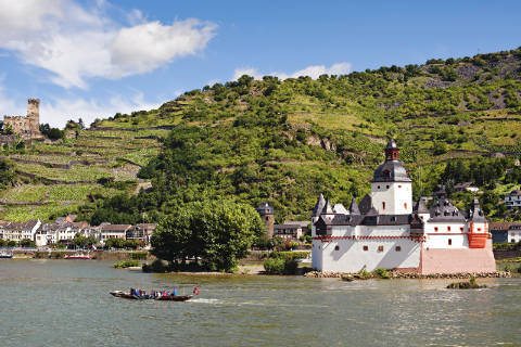 Pfalzgrafenstein Castle in the Rhine, Kaub, Germany of artist Steiner (F1 Online), Day, Kaub, Site, Hill, River, Nobody, Palace, Unesco