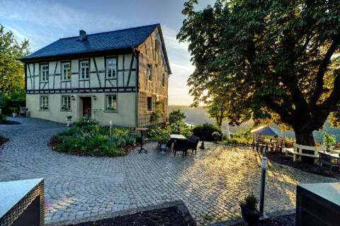 Guenderodehaus, Oberwesel, Germany of artist Steiner (F1 Online), Day, Plant, Stone, Botany, Travel, Framed, Europe, History
