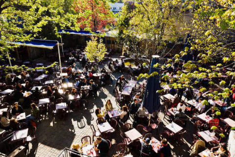 People on terrace Saint-Sulpice, Quartier Latin, Montreal, Quebec of artist First Light (F1 Online), ©al, Day, Days, Angle, Cafes, Crowd, North, Color