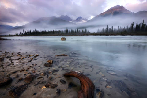 A foggy, early morning on the Sunwapta River in Jasper National Park, Alberta of artist First Light (F1 Online) as framed image