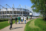 W. Otto (F1 Online) - Football fan and stadium Borussia-Park, Moenchengladbach, North Rhine-Westphalia, Germany
