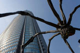 S. Tauqueur (F1 Online) - Skyscraper and spider sculpture, Tokyo, Japan, low angle view