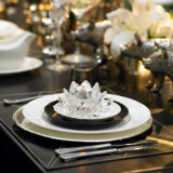 First Light (F1 Online) - Table setting with dinner plate and crystal votive candle holder