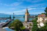 parasola (F1 Online) - Harbour with Mangenturm, Lake Constance, Lindau, Bavaria, Germany, Europe