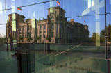 Beate Münter (F1 Online) - Reichstag reflecting in glass front of Marie-Elisabeth-Lueders-Haus, Berlin, Germany