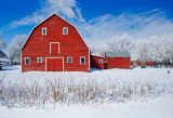 First Light (F1 Online) - Red barn, winter, Grande Pointe, Manitoba, Canada