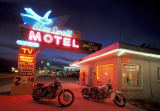 Prisma (F1 Online) - Blue swallow, Motel, Route 66, near Tucumcari, New Mexico, USA, United States, America, motor bikes