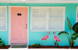 Prisma (F1 Online) - Two, pink, plastic, Flamingos, door, The Palms, Retro Hotel, Atlantic Beach, Jacksonville, Florida, USA, United States, America,