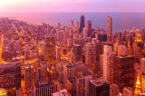 Prisma (F1 Online) - Chicago, from above, from Willis Tower, Chicago, Illinois, USA, United States, America, buildings, lake Michigan, lights, dusk,