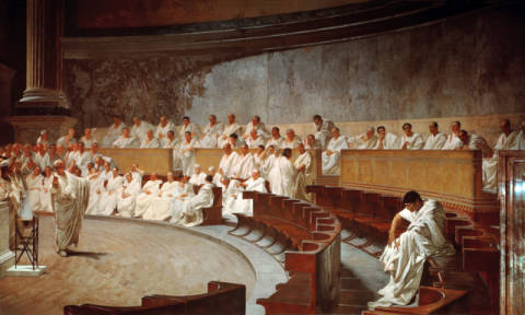 Cicero, in the Senate, accusing Catilina of conspiracy of artist Cesare Maccari, Law, Male, View, 1889, Home, Roman, Right, Julius