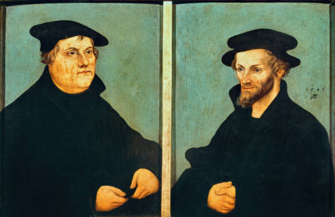 Luther and Melanchthon / Portrait / 1543 of artist Lucas Cranach der Ältere, Man, Oil, 16cm, 16th, Hats, Shot, Hands, Elder