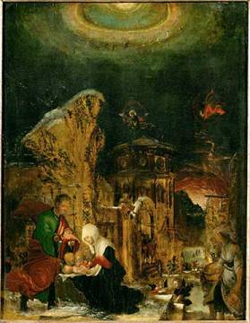The Holy Night of artist Albrecht Altdorfer, New, God, Star, Holy, 1520, 16th, Snow, Lime