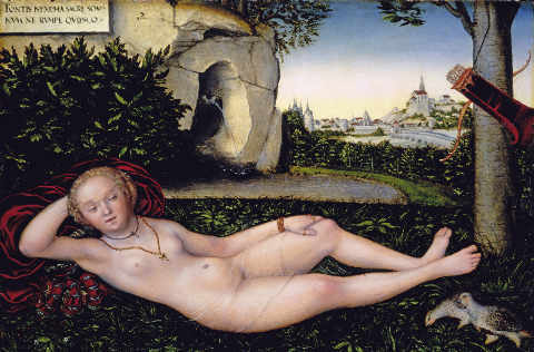 Reclining Nymph of the spring of artist Lucas Cranach der Ältere as framed image