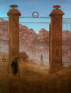 The cemetery of artist Caspar David Friedrich as framed image
